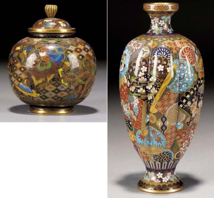 A lobed ovoid shaped cloisonne