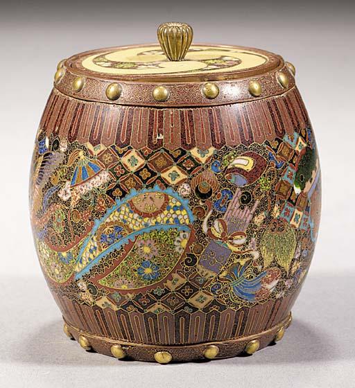 A cloisonne barrel-shaped box