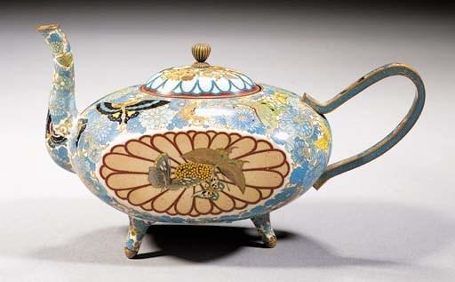 A cloisonne tripod teapot and