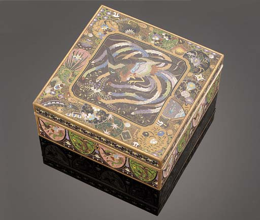 A cloisonne square box and hin
