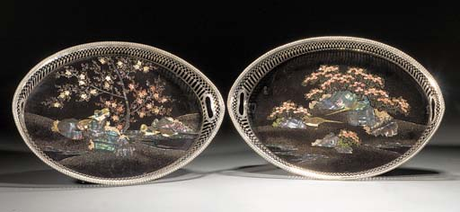 A pair of Nagasaki lacquer ova