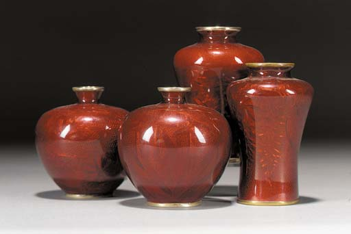 A pair of red ginbari enamel s