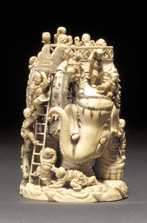 A Shibyama style ivory elephan