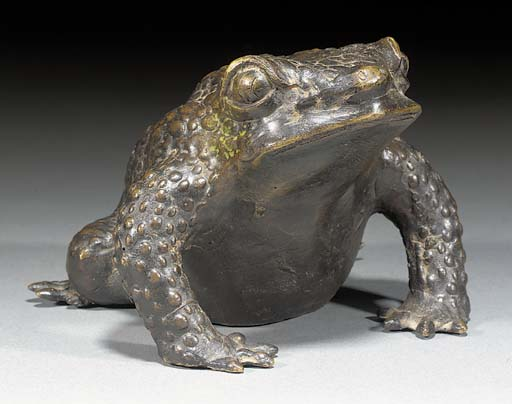 A bronze model of a toad 19th