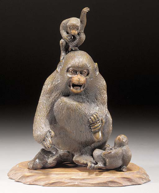 A bronze monkey group 19th cen