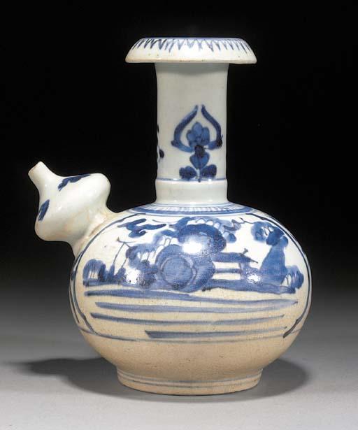 An Arita blue and white kendi