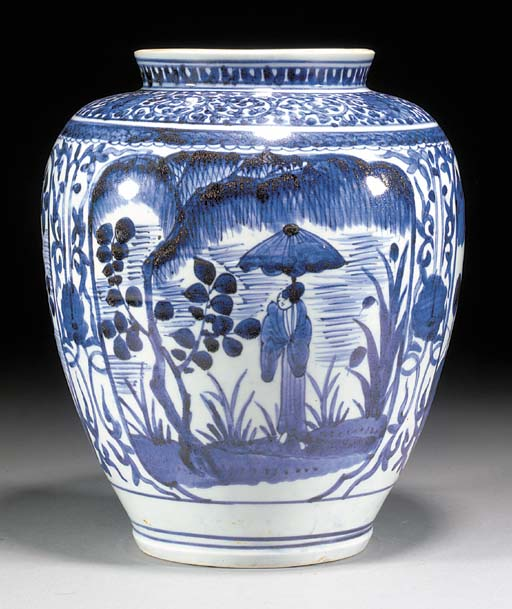 An Arita blue and white balust