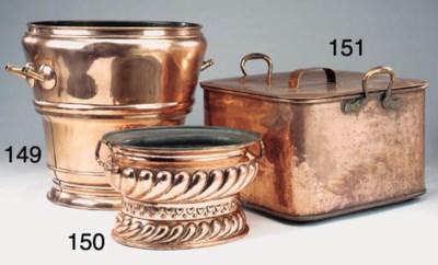 A French copper log bin, 19th