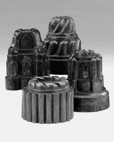 Four copper jelly moulds, poss