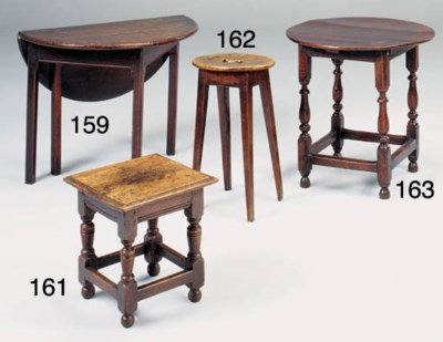 AN OAK STOOL OR LOW TABLE, LAT