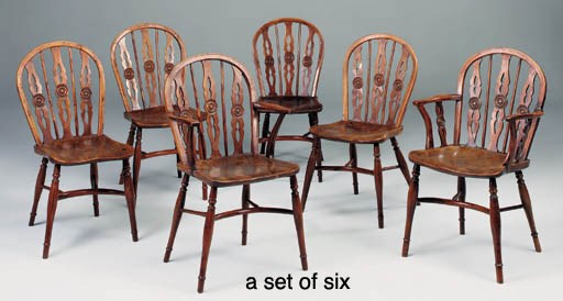 A SET OF SIX YEWWOOD, ELM AND