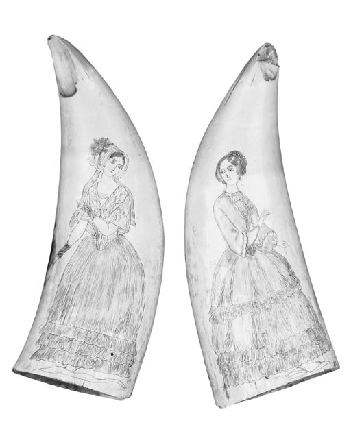 Two Scrimshaw whales teeth, se