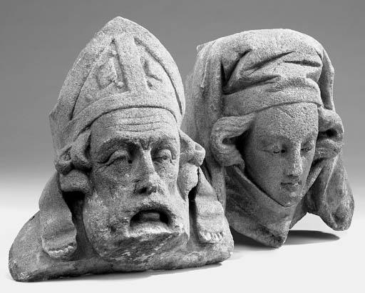 Two carved sandstone sculptura