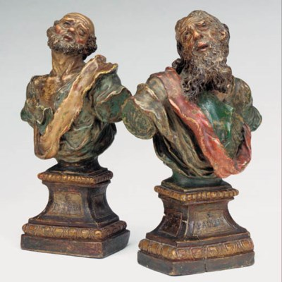 A pair of Spanish polychrome t