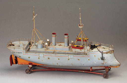 A Bing 56cm. clockwork two-funnel Battleship 'King Edward'