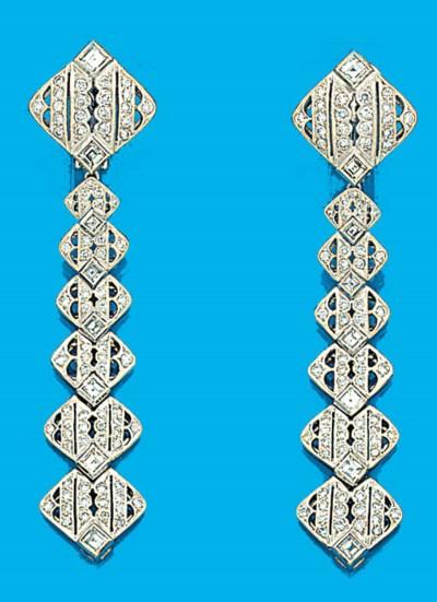 A pair of square cut diamond a