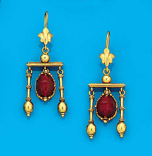 A pair of archaeological revival gold, and cornelian earrings,