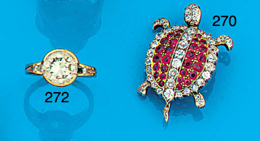 A late 19th/early 20th century ruby and diamond tortoise brooch