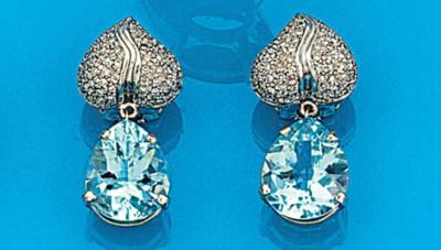 A pair of diamond and aquamari