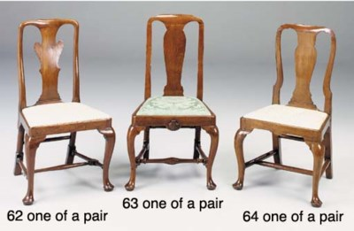 A PAIR OF WALNUT DINING CHAIRS