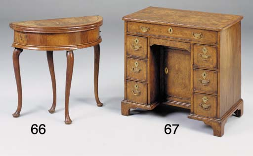 A WALNUT CROSSBANDED DEMI-LUNE CARD TABLE, EARLY 18TH CENTURY, ANGLO-DUTCH