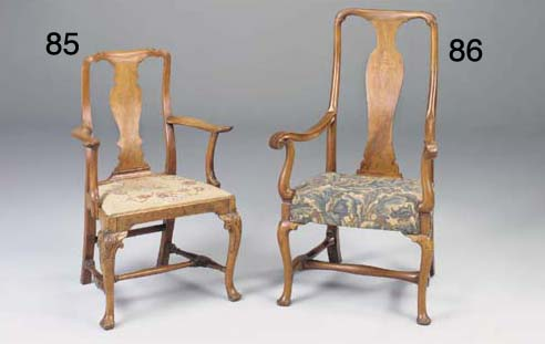 A WALNUT AND MARQUETRY ARMCHAIR, EARLY 18TH CENTURY