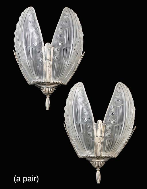 A set of four Art Deco silvered metal and frosted glass twin light wall appliques, early 20th century