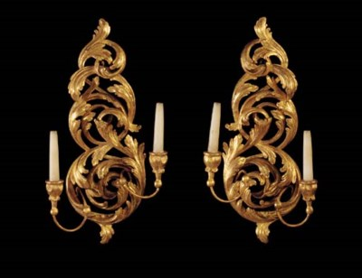 A PAIR OF CARVED GILTWOOD TWIN