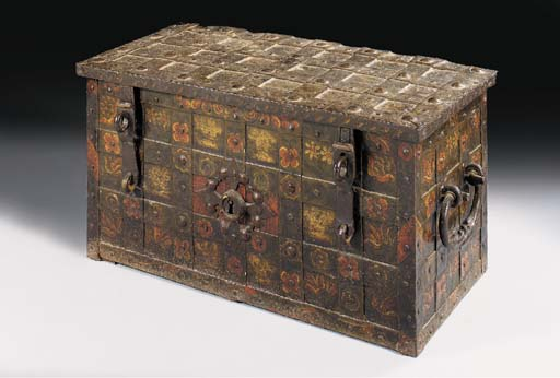 A DUTCH POLYCHROME DECORATED CAST IRON STRONG BOX, 17TH CENTURY