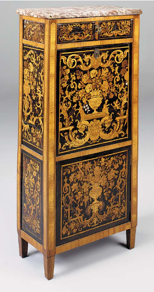 A FRENCH TULIPWOOD CROSSBANDED AND MARQUETRY ESCRITOIRE, ELEMENTS 18TH CENTURY