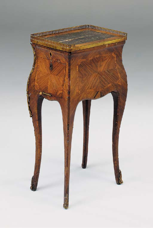 A FRENCH KINGWOOD, TULIPWOOD AND CROSSBANDED AND ORMOLU MOUNTED OCCASIONAL TABLE, 18TH CENTURY