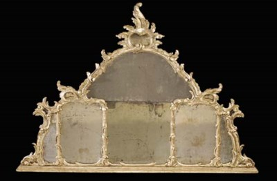 A VENETIAN SILVERED OVERMANTEL