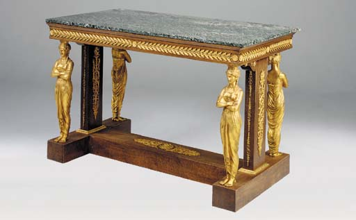 A MAHOGANY AND ORMOLU MOUNTED CENTRE TABLE, 20TH CENTURY, in the Empire style