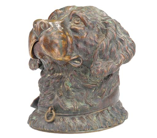 A bronze retreivers head inkwell, late 19th century