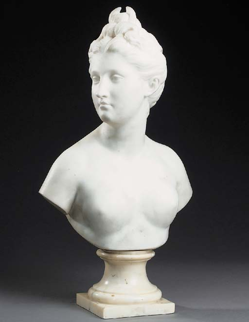 A carved white marble bust of Diana, late 19th century