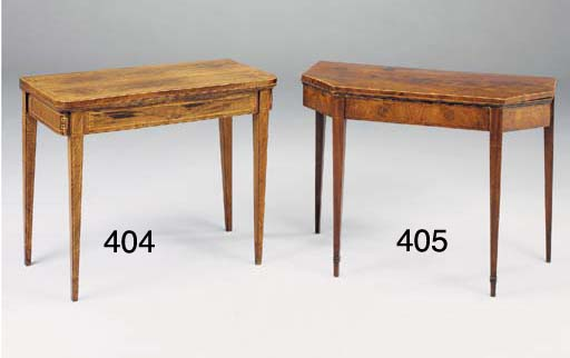 A GEORGE III MAHOGANY, TULIPWOOD CROSSBANDED AND INLAID CARD TABLE