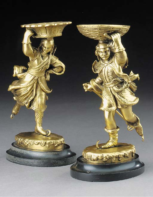 A pair of Continental gilt bronze figures, second half 19th century