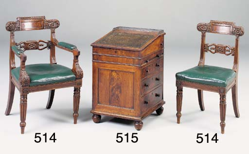 A SET OF SEVEN REGENCY CARVED MAHOGANY DINING CHAIRS, POSSIBLY SCOTTISH