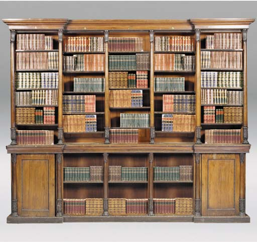 A REGENCY ROSEWOOD LIBRARY BOOKCASE