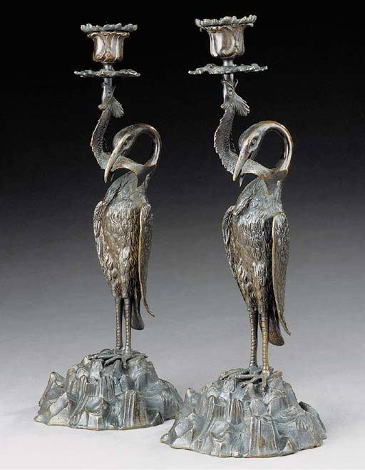 A pair of William IV or early Victorian bronze candlesticks, second quarter 19th century
