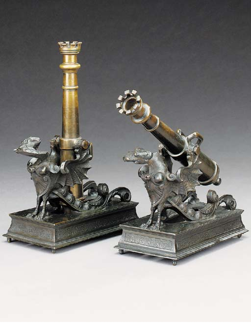 A pair of Victorian bronze candlesticks, late 19th century