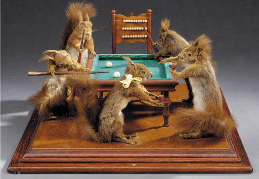 A tableau vivant of squirrels playing billiards, first half 20th century
