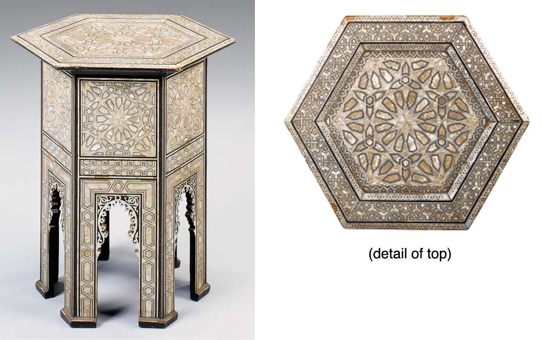A NEAR EASTERN MOTHER OF PEARL, PARQUETRY INLAID OCCASIONAL TABLE, LATE 19TH/EARLY 20TH CENTURY