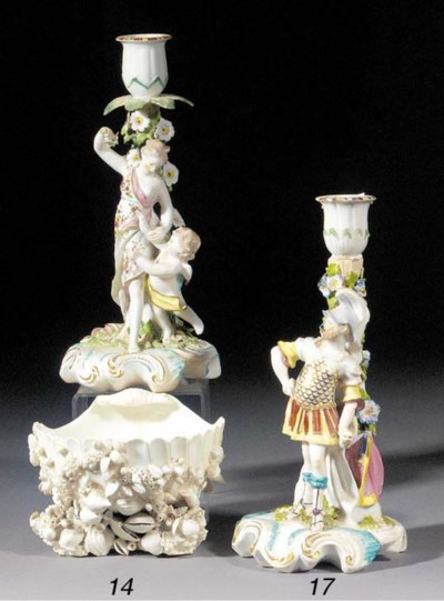 A pair of Derby candlestick fi
