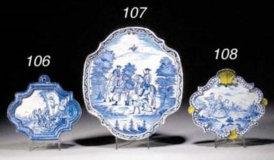 A Delft blue and white quatref