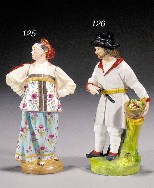 A Russian porcelain figure of a male gardener