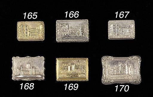 """A William IV silver-gilt """"castle-top"""" vinaigrette"""