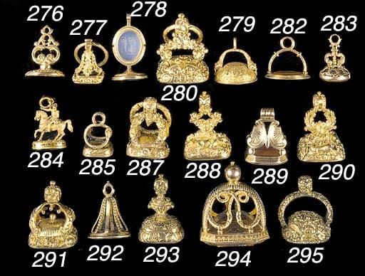 Three various gold-mounted fob