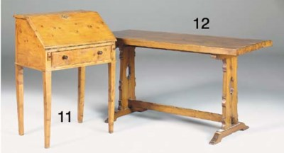 A YEWWOOD REFECTORY TABLE, 20T