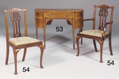 A set of eight inlaid mahogany